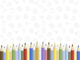 Farbiges Bleistiftplakat mit zurück zu Schulikonen