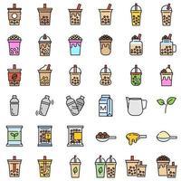 Bubble Tea oder Pearl Milchtee gefüllt Icon-Set