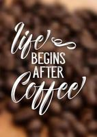 Kaffe citat på defocussed bakgrund vektor