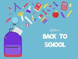 Skolmaterial som faller i ryggsäck Tillbaka till skolaffischen