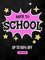 Svart och rosa Tillbaka till skolan försäljning affisch