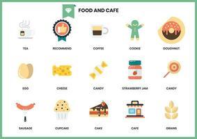 Satz Café- und Lebensmittelikonen