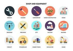 Uppsättning av ikoner för byggnadsutrustning