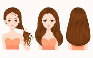 Jämförelse av skadat och vackert hår vektor