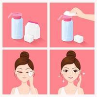 Hur du rengör ansiktet med rengöringsvatten vektor
