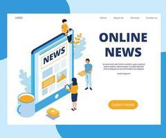 Online Nachrichten Landing Page vektor