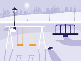 park med lekplats isolerad ikon vektor