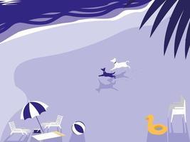 tropischer Strand mit Hundemaskottchen und -regenschirm