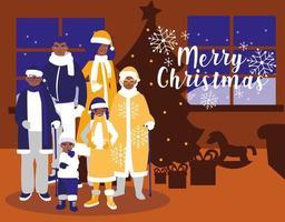 grupp familj med kläder jul i huset