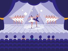 Bühne mit Showballettszene vektor