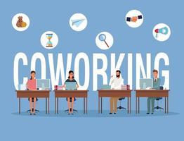 Coworking Geschäftsleute an Schreibtischen