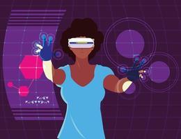 kvinna som använder teknik för förstärkt verklighet