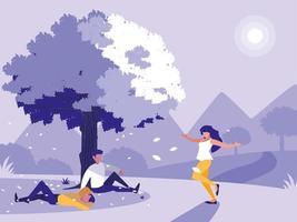 kreative Landschaft mit Baum und Menschen vektor