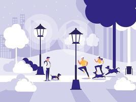 människor i park med lampor isolerad ikon
