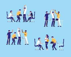 Gruppe Geschäftsleute elegant am Arbeitsplatz vektor