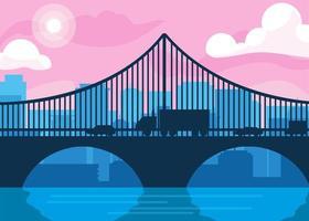 Gebäudestadtbildszene mit Brücke