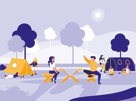 Leute im Park mit Zelten lokalisierten Ikone vektor