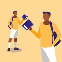 junge Kerle, die mit Notizbüchern modellieren