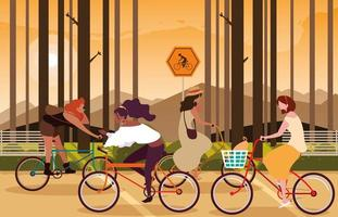 Frauen, die Fahrrad in der Waldlandschaft reiten vektor