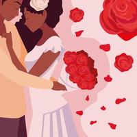 ungt par med rosor dekoration vektor