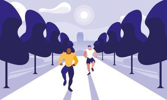junge Männer rennen im Freien vektor