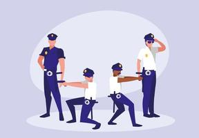 Gruppe von Polizisten Avatar Charakter vektor
