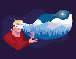 Mann mit Technologie der Augmented Reality