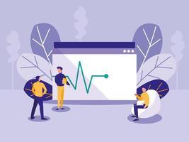 Mini-Männer mit Webseite mit Elektro-Line