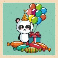 Grattis på födelsedagskortet med pandabjörnen vektor