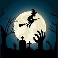 Glad halloween festivalpartidesign med häxan över kyrkogården