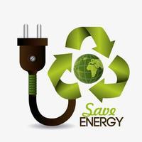 Grünes Energie- und Ökologiedesign mit Stecker und Kugel vektor