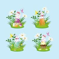 Gruppenkaninchen mit Eiern von Ostern im Garten