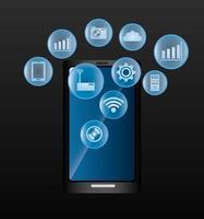 Technologieikonen über digitalem Design des Telefons.