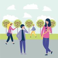 Menschen auf Smartphones im Park vektor