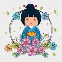 kawaii japansk flicka med blommor
