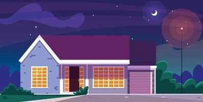 husbyggnad fasad med nattbild