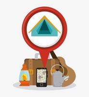 Campingzelt, Laterne, Wasserkocher und andere Gegenstände
