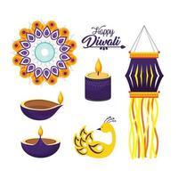 Satz von Diwali Hindu Festival Dekorationen vektor