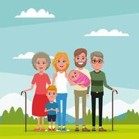 Familj och morföräldrar med barntecknad film