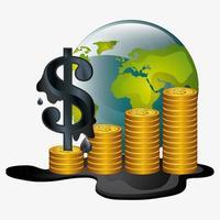 Oljeprisdesign med mynt och jordklot