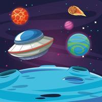 UFO främmande rymdskepp i galaxen vektor