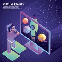 Karikaturmann, der Gläser der virtuellen Realität verwendet