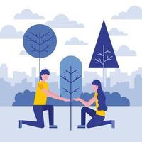 Par som planterar träd vektor