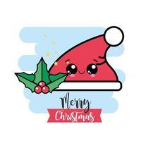 Frohe Weihnachten Kawaii Santa Hut und Mistel