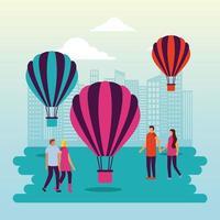 Heißluftballon und Leute im städtischen Park vektor