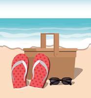 sommar flip flops i stranddesign vektor