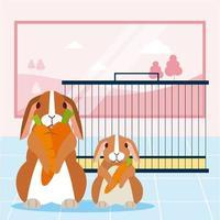 Kaniner med morötter nära bur