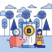 Fintech-Collage mit Sparschwein und Smartphone mit Bitcoin