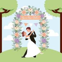 Hochzeitspaartanzen retten die Datumskarte vektor