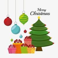 Kartendesign der frohen Weihnachten mit Geschenken, Verzierungen und Baum